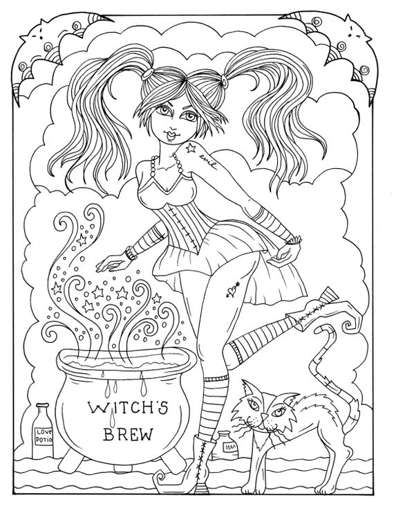5 Pagine Sexy Streghe A Colore Instant Download Halloween Etsy