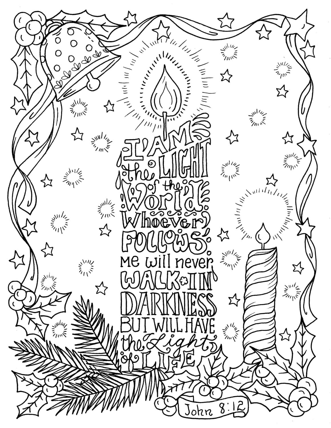 Christmas Candle Coloring page Christian Scripture Color ...