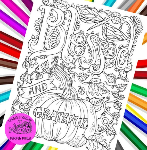 Blessed and grateful PDF coloring page. Fall coloring