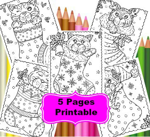 5 Pages Of Christmas Kitty Coloring Fun Digital Printable Pages Coloring Cats Christmas Coloring Coloring Books
