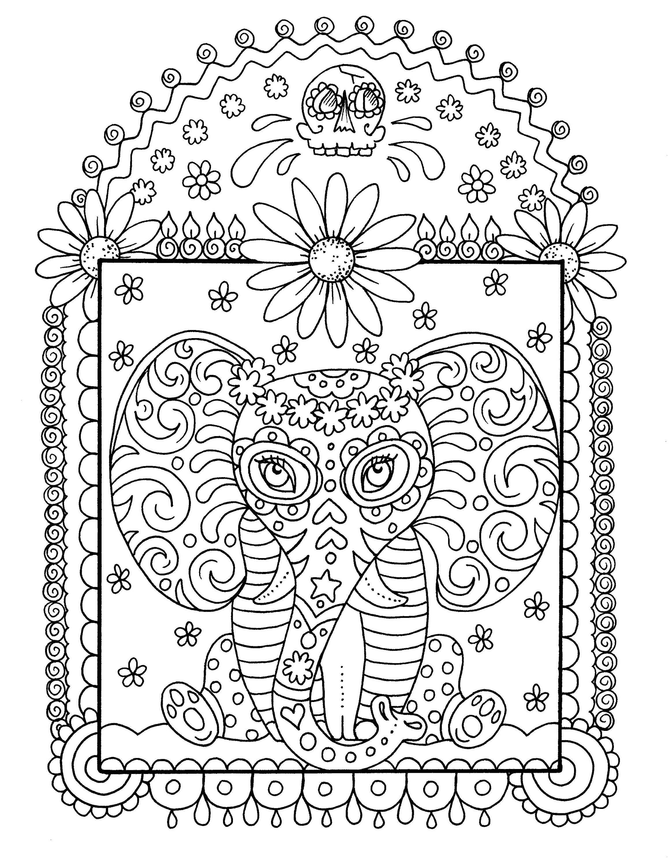 Sofortiger download Elefant Färbung Seiten Digi Stempel | Etsy