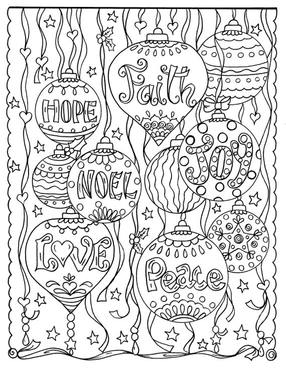 Christmas Christian coloring page digital printable adult