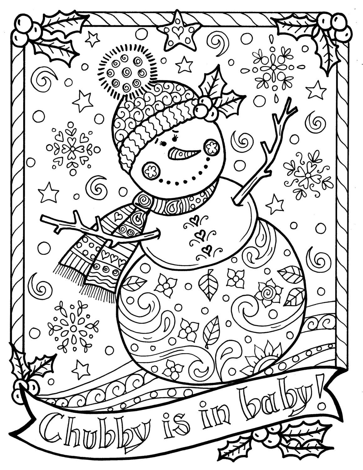 Snowman Coloring page Chubby Christmas Adult Color ...