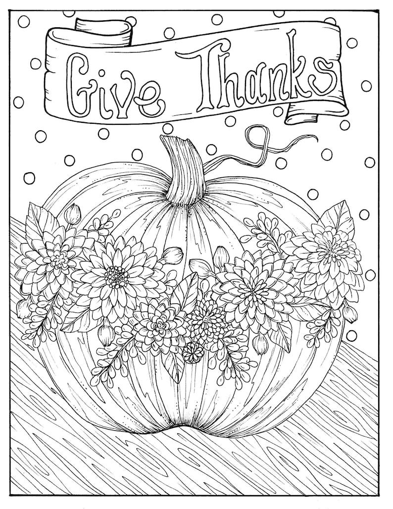 5 Pages Fabulous Fall Digital Downloads to Color Punpkins