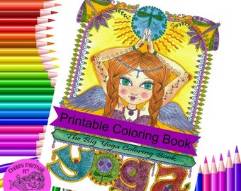Digital Yoga Coloring book, instant download, adult coloring book, om, peace, harmony, digi stamps