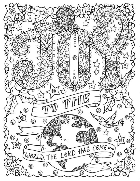 - Joy To The World Printable Coloring Page Church Christian Etsy