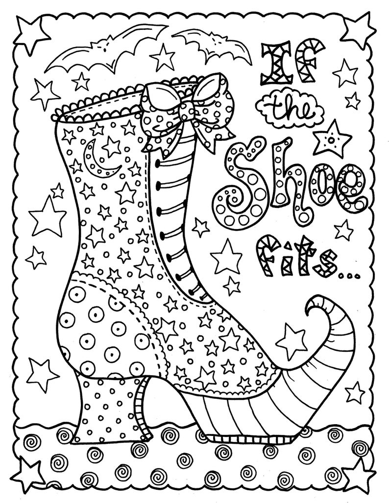 Digital download witch shoe halloween coloring page ...