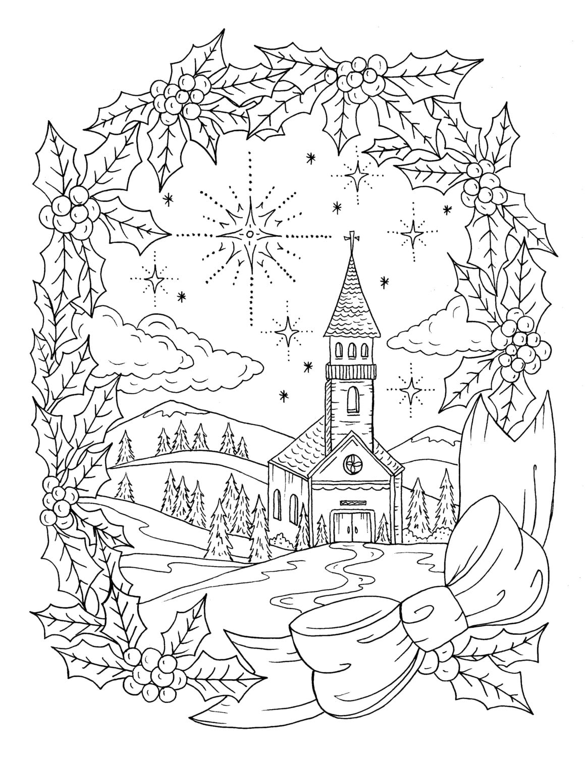 Christmas Coloring Page Instant download Adult Coloring | Etsy