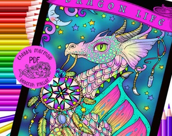 Dragon Life Coloring Book Instant Download. Fantasy coloring book for all ages.