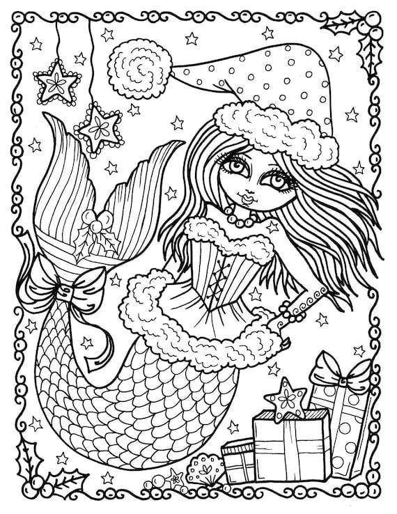 Navidad sirena instantánea descargar colorear página libro | Etsy