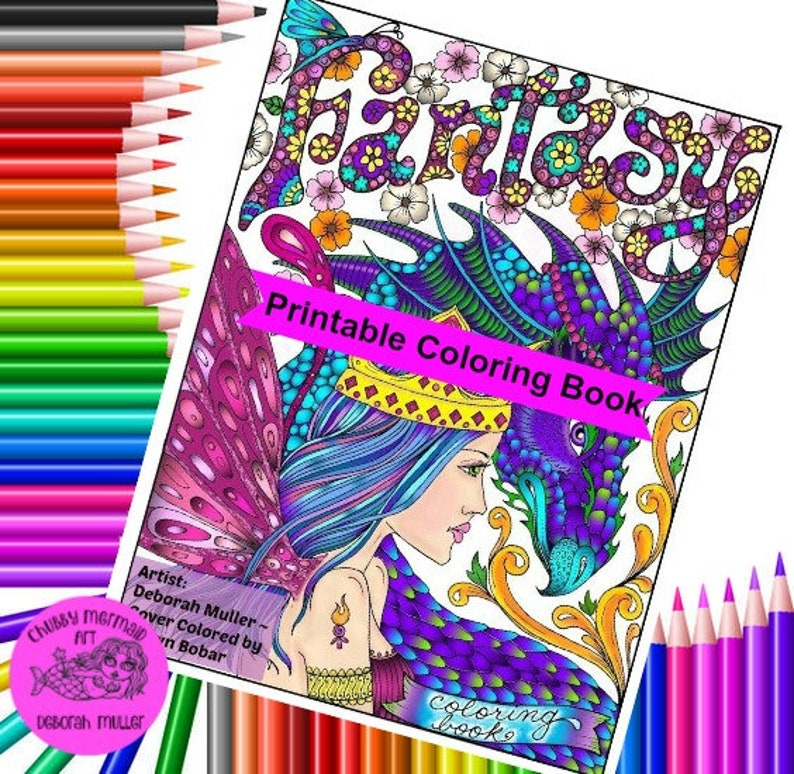 Fantasy Digital Download printable book adult coloring | Etsy