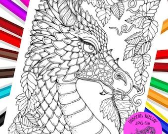 Fall Dragon digital file. Fall coloring fun! Adult coloring.