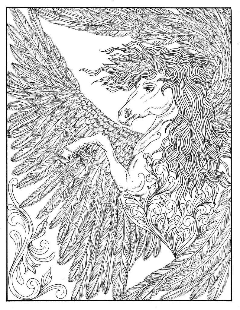 Kleurplaten Volwassenen Draken.Fantasy Thema Kleurplaten Boek Feeen Draken Pixies Etsy