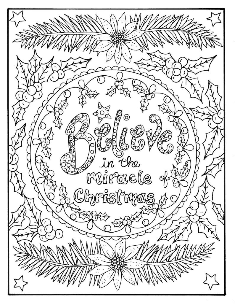 Kleurplaten Voor Volwassenen Christelijk.Kerst Kleuren Pagina Believe In De Christelijke Geschriften Etsy