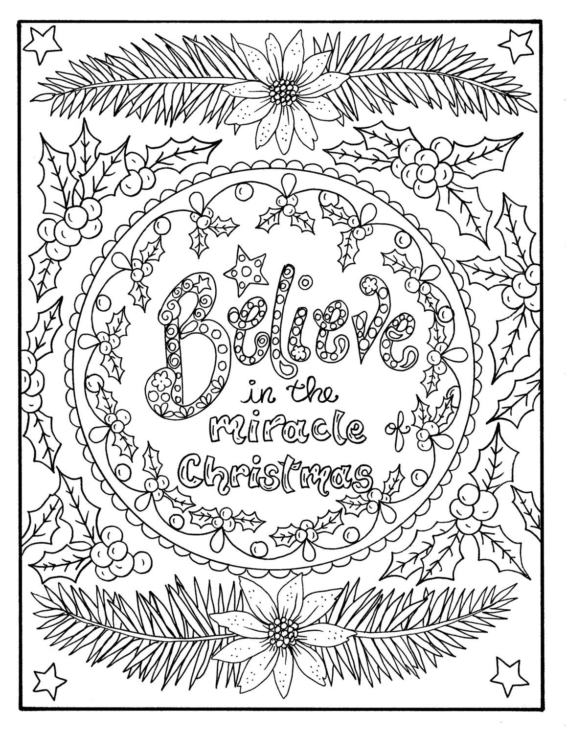 adult religious coloring pages | Christmas Coloring page Believe in the Miracle Adult ...