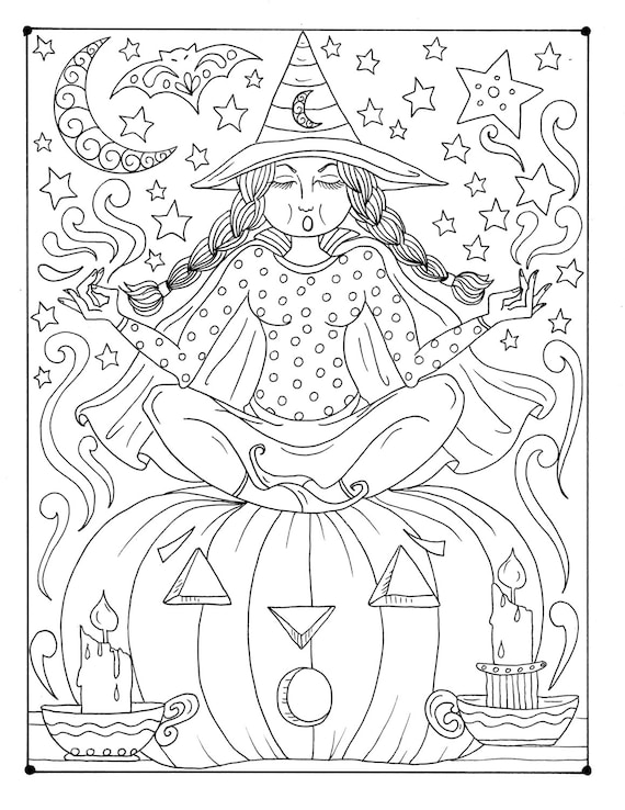 Zen Witch Instant Download Coloring page Halloween Etsy