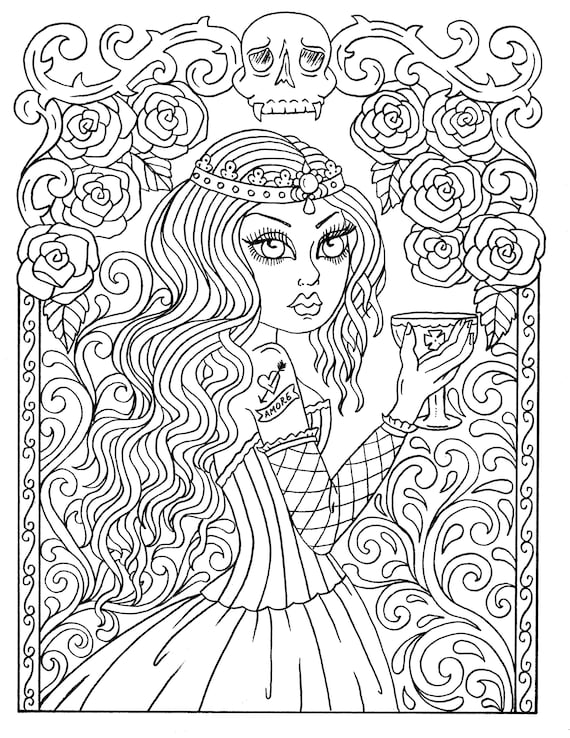 Instant Download GOTHIC Beauty Coloring book, adult coloring, color pages,  fashion, goth, big eyed girls, low brow, tattoo girls digi