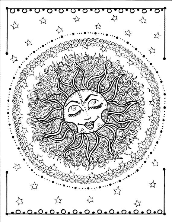 Sun Mandala Digital Coloring Page Instant Etsy