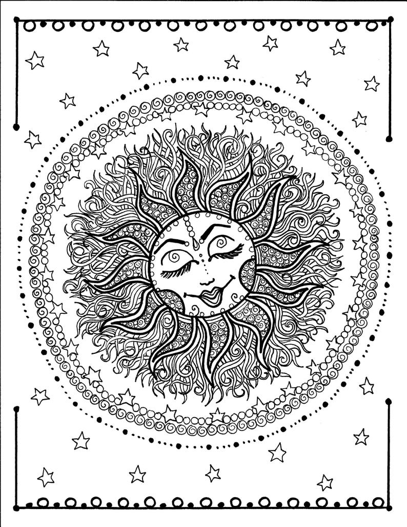 Sun Mandala Digital Coloring Page Instant Download Zen Relax Adult Coloring Color Pages Celestial Moon Stars