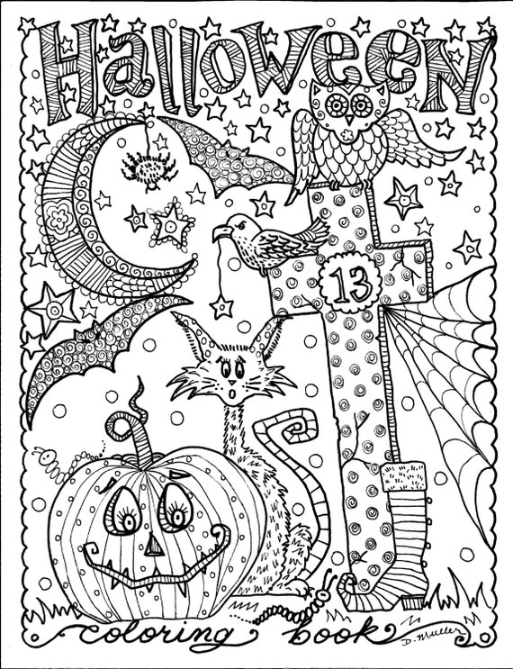 Coloriage De Bebe Tout Nu.5 Pages Telechargement Telecharger Halloween Coloriages Art De Couleur Numerique Digi Stamp Sorciere Chat Lune Automne
