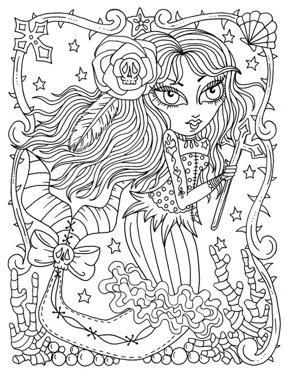 - 5 Pages Gothic Mermaids Digital Coloring Pages Set Of 5 Digi Etsy