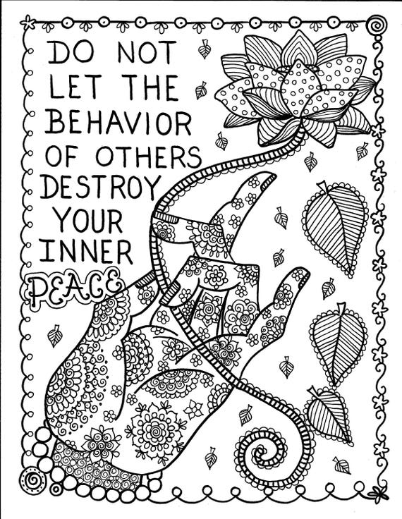 5 Pages Inspiring Coloring pages mantras/yoga/peace/om/Adult | Etsy