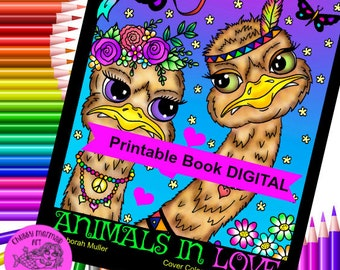 Animals in Love PDF Coloring Book. Animal couple doing the cutest things, birds, hippos, bunnies, turtles, fox, cats, dogs and more!