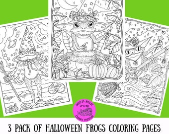 Halloween Frogs digital download. 3 pages to color and enjoy. A wizard and 2 cute witches.