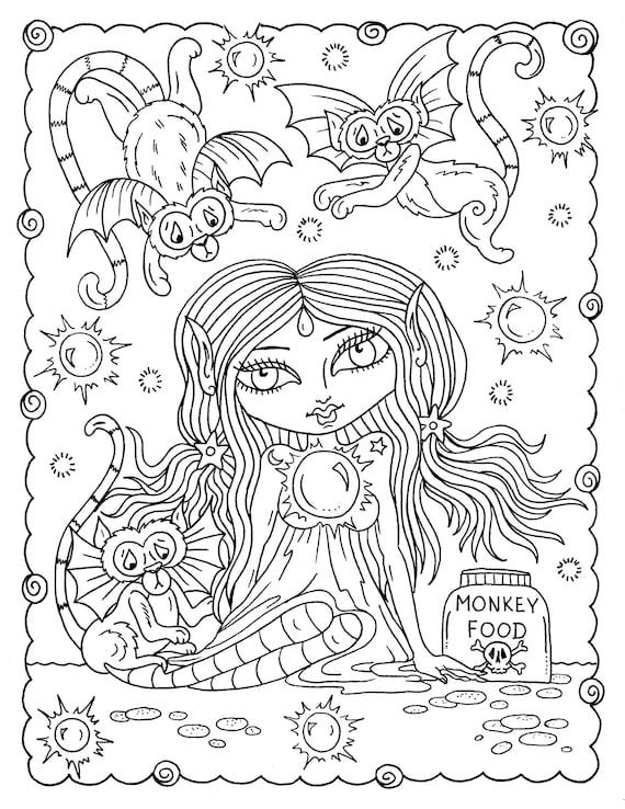 DIGITAL Coloring Book Misfits, creepy cute girls, adult coloring,  halloween, digi files, coloring pages, digi coloring