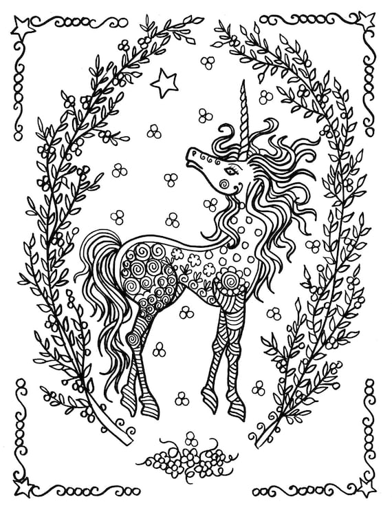 Unicorn Coloring Pages Coloring Adults Instant Downloads ...