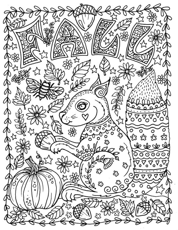 FALL Coloring Page Instant Download Squirrel With Acorns Etsy