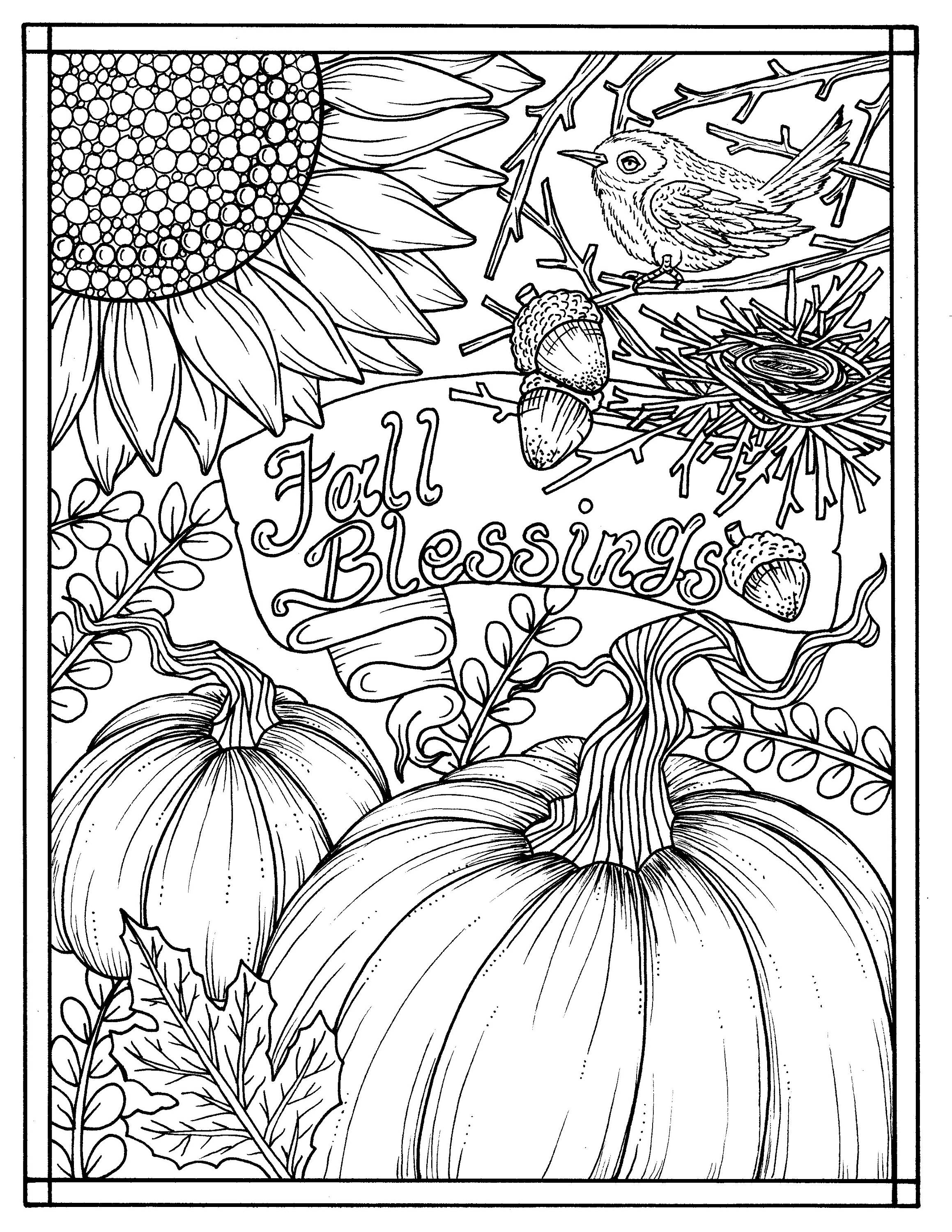free autumn coloring pages for adults | Download Fall Blessings Instant digital Coloring page ...