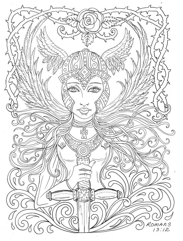Warrior Angel Instant Download Coloring Pages Digi Stamp