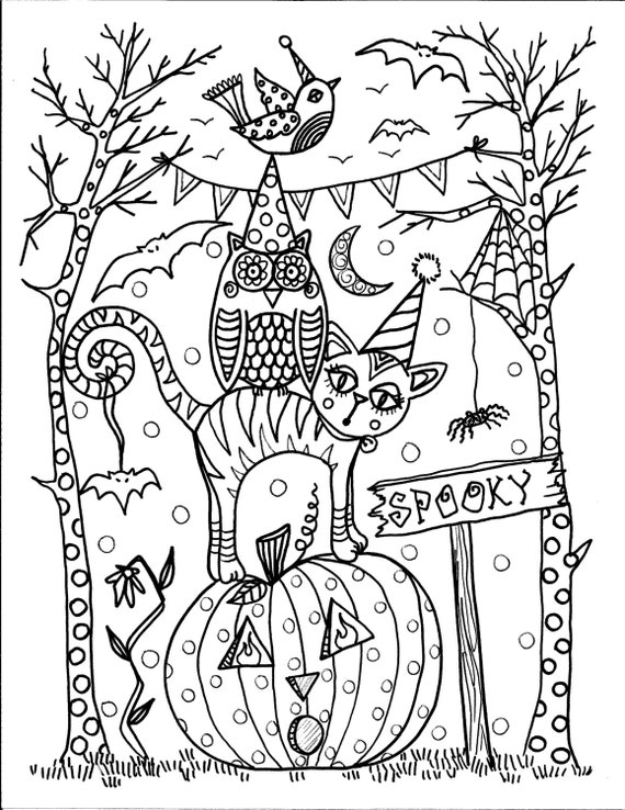 5 Pages Instant Download Halloween Coloring Pages 5 Different Etsy