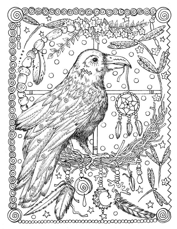 5 Pages Instant Download Animal Spirits To Color Wolf Raven Crow Eagle Bear Native American Art Coloring Adult Book Digi Stamp