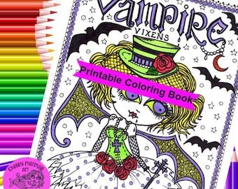 Vampire Vixens Digital Coloring book, hallween, creepy cute girls, vampires, monsters and fun!