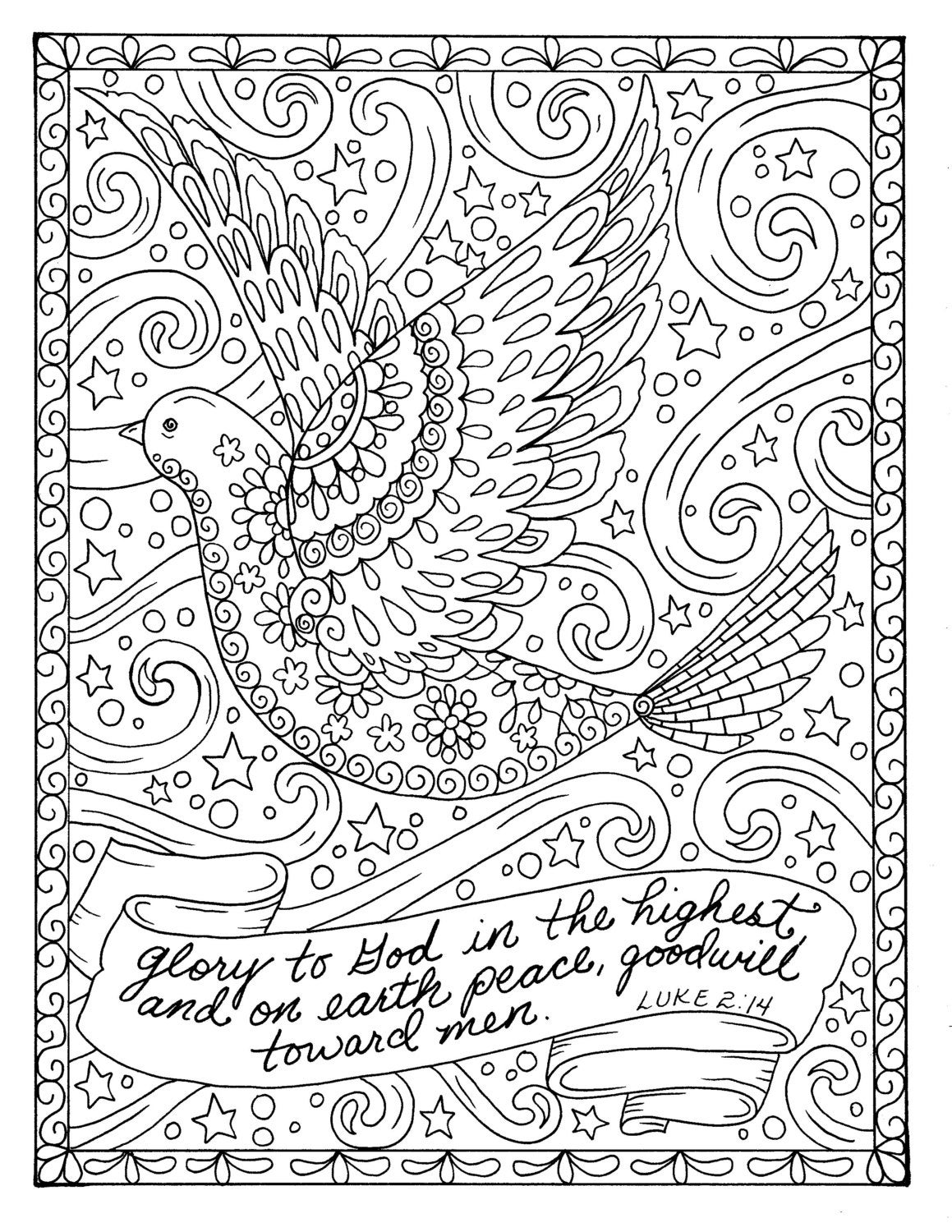 Christmas Coloring page dove Christian Scripture Adult ...