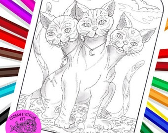3 headed cat is going to make you smile! Whimsical Halloween art, cats, magi, digital coloring page.