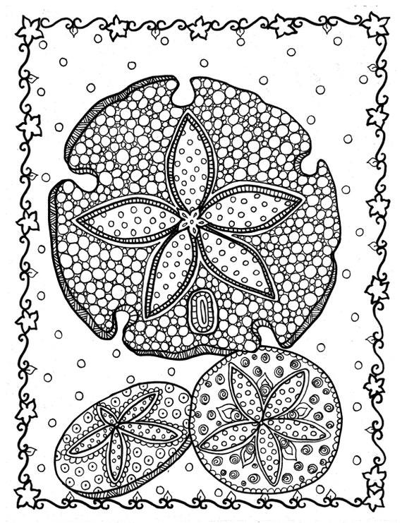 5 Seiten mit Muscheln Farbe Instant Download Färbung Seite