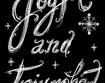 Instant Download Joyful and Triumphant Chalk Art Christmas