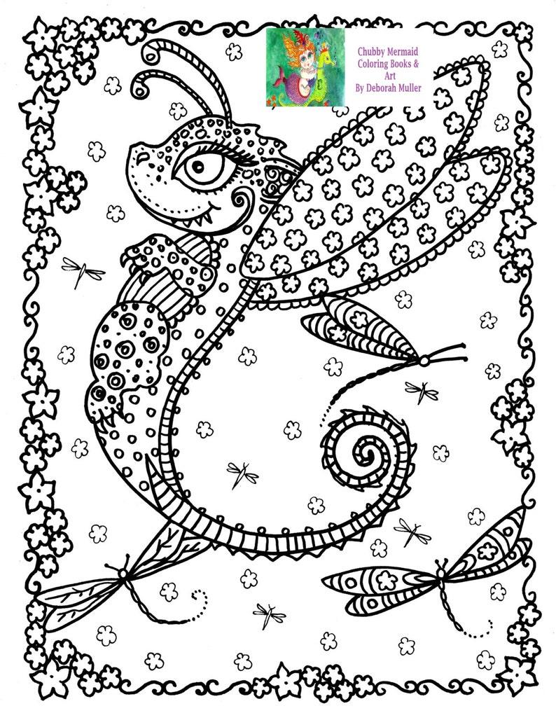 Kleurplaten Voor Volwassenen Fantasie.Instant Download Kleurplaat Pagina Baby Dragon Kleurplaten Etsy