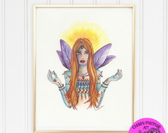Digital Art to download and print. Zen Fairy Art print. Yoga, OM, fairyland, faries, fairy art, fairy prints, art to print, digi