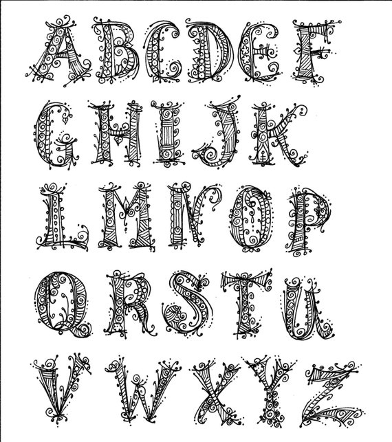 Instant Download Alphabet Henna Style Chalk Art Decor Coloring Etsy