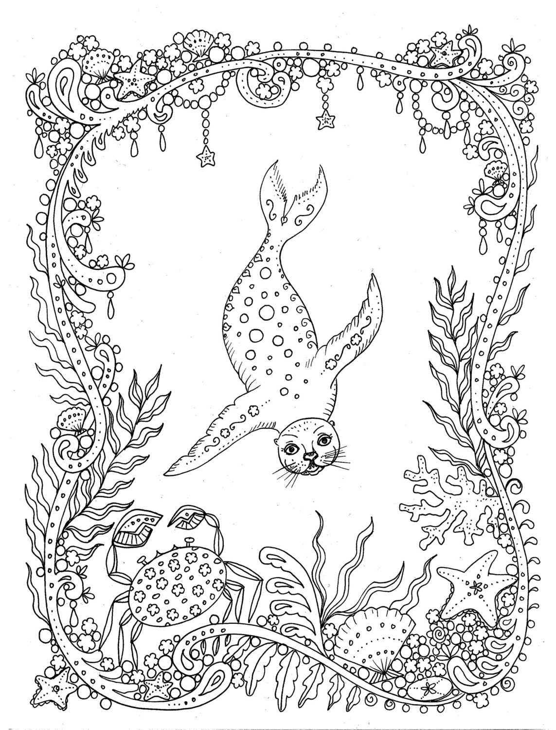 Download Coloring Page Fantasy Seal You Be The Artist Color Etsy