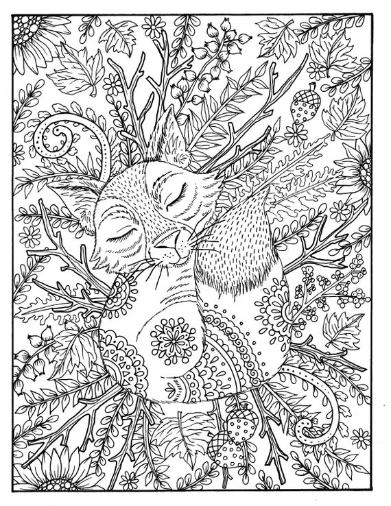 Fall Fox Coloring Page Digital Coloring Adult Coloring Digi Etsy