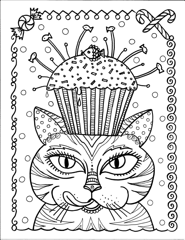 Instantánea descargar gato y Magdalena para colorear página   Etsy