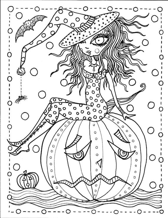 5 Pages Instant Download Halloween Kolorowanki Sztuka Etsy