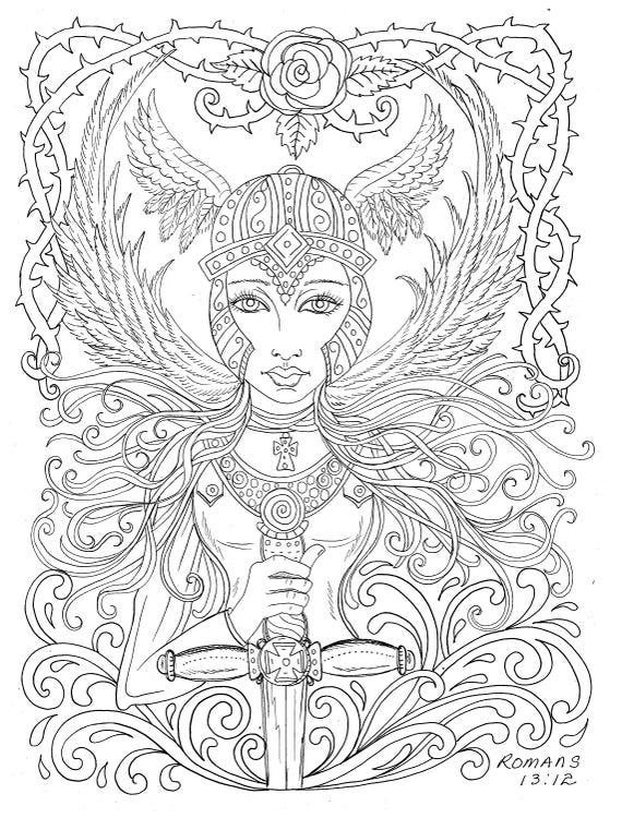 Angels Digital Download Coloring Book digi, angel, christian, adult  coloring, digi stamps