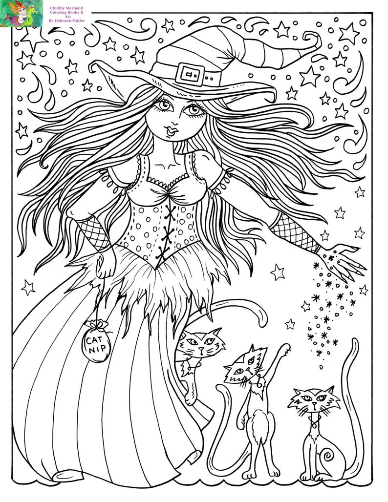 Downloadable Coloring Page Witch and Cats halloween Fun Coloring Books  Adults/digital/digi/stamps/cat
