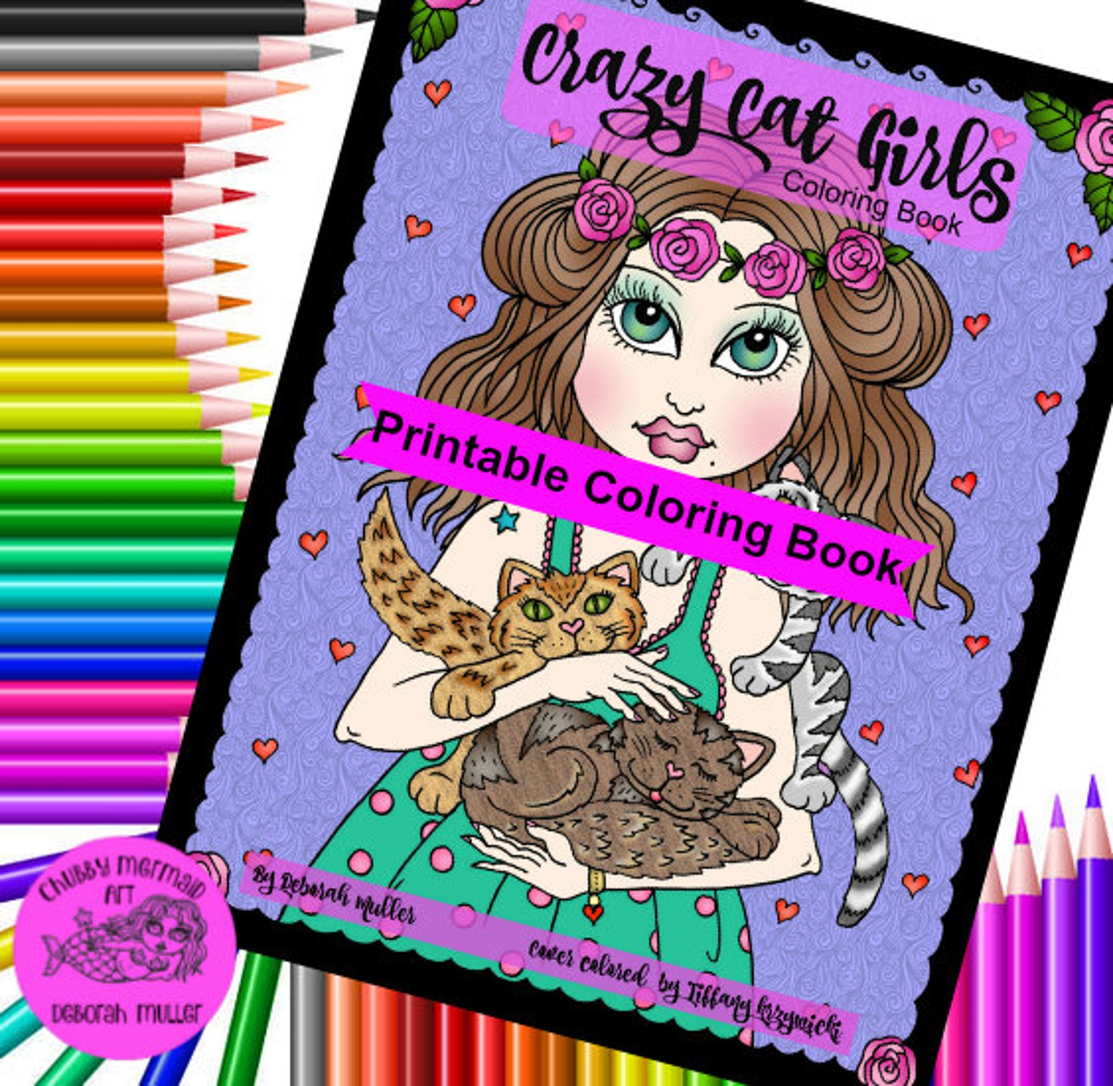 crazy Cat Girls Coloring book for grownups